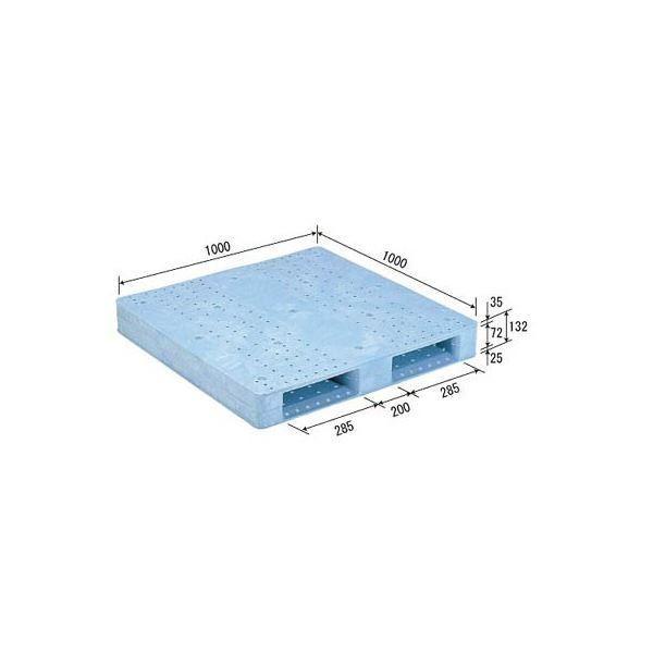 【直送】三甲(サンコー) プラスチックパレット/プラパレ 〔片面使用型〕 軽量 D2-1010F ライトブルー(青)〔代引不可〕