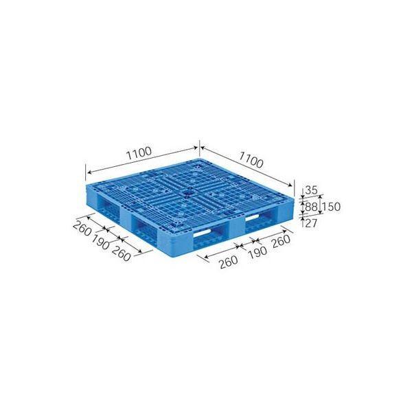 【直送】三甲(サンコー) プラスチックパレット/プラパレ 〔片面使用型〕 軽量 D4-1111-12(PE) ライトブルー(青)〔代引不可〕