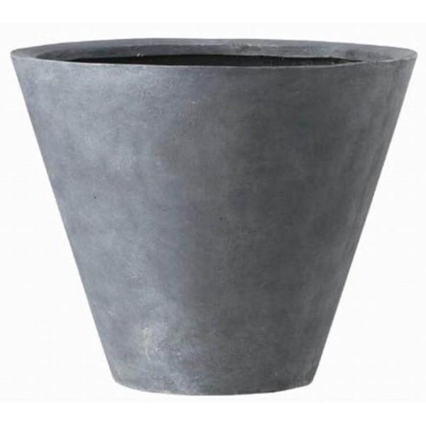【直送】軽量植木鉢/プランター 〔深型 グレー 直径60cm〕 穴有 ファイバー製 『LLシンプルコーン』