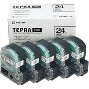 【直送】(業務用5セット) キングジム テプラ PROテープ/ラベルライター用テープ 〔幅:24mm〕 5個入り ST24K-5P 透明