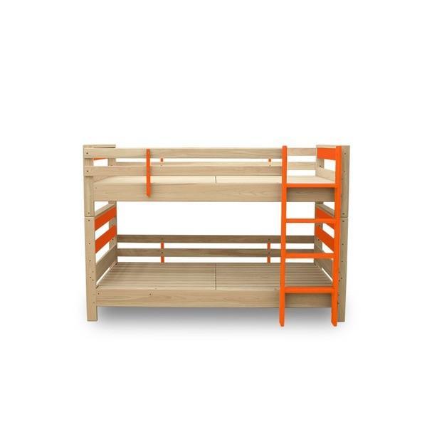 【直送】防ダニ 防カビ 抗菌 国産ヒノキ材二段ベッド (フレームのみ) シングル オレンジ 日本製ベッドフレーム 木製 シングル使用可〔代引不可〕