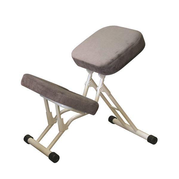 【直送】学習椅子/ワークチェア 〔グレー×ミルキーホワイト〕 〔グレー×ミルキーホワイト〕 幅440mm 日本製 折り畳み スチールパイプ 『セブンポーズチェア』〔代引不可〕