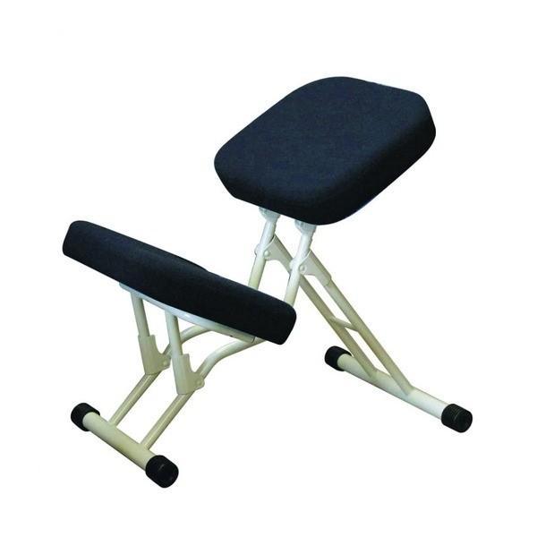 【直送】学習椅子/ワークチェア 〔ブラック×ミルキーホワイト〕 幅440mm 幅440mm 日本製 折り畳み スチールパイプ 『セブンポーズチェア』〔代引不可〕