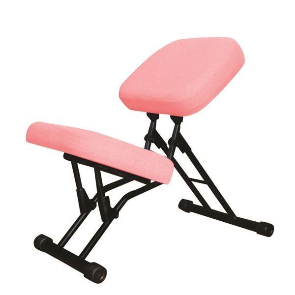 【直送】学習椅子/ワークチェア 〔ピンク×ブラック〕 幅440mm 日本製 折り畳み スチールパイプ スチールパイプ 『セブンポーズチェア』〔代引不可〕