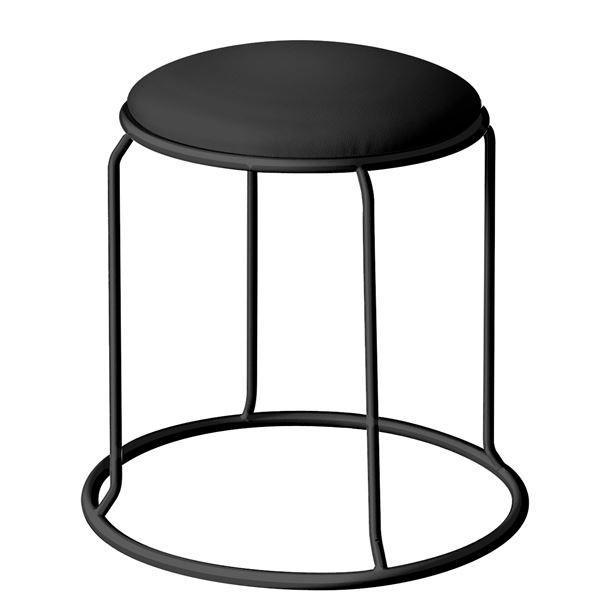 【直送】北欧風 スツール/丸椅子 〔同色5脚セット ブラック×ブラック〕 幅415mm スチール ビニールレザー 『レザー リンクスツール』〔代引不可〕