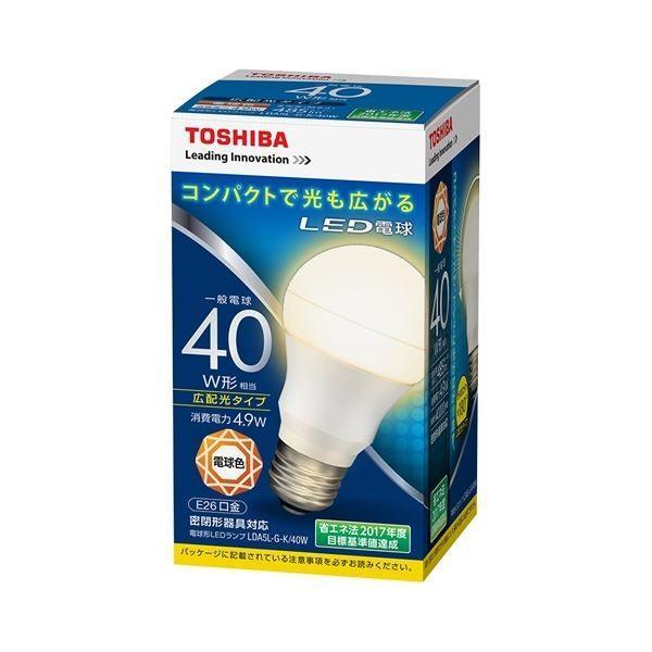 【直送】(まとめ) 東芝ライテック LED電球 広配光40W 電球色 LDA5L-G-K/40W〔×10セット〕