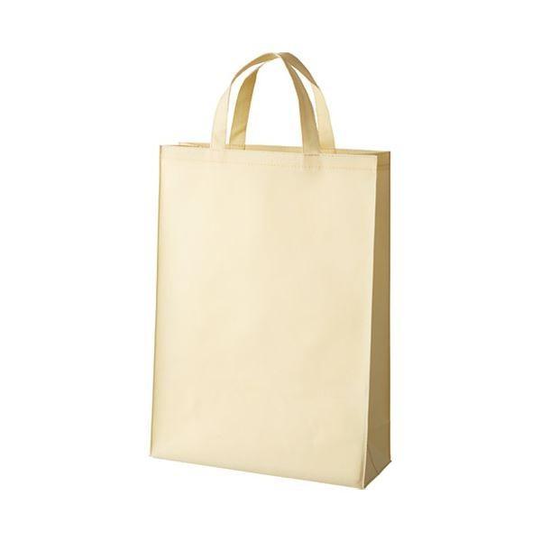 【直送】(まとめ)スマートバリュー 不織布手提げバッグ中10枚ベージュB451J-BE〔×5セット〕