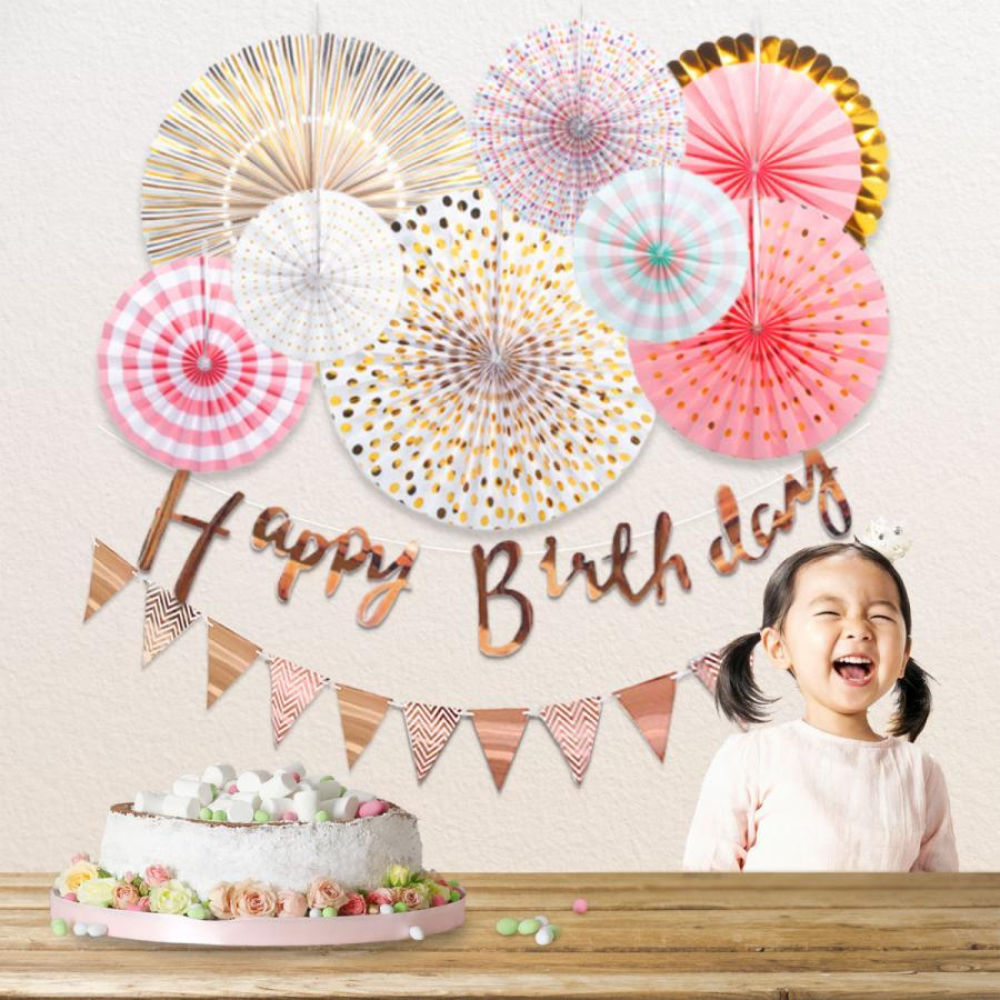 ペーパーファン誕生日飾り付けキット HappyBirthday ガーランド 日本未発売 お気に入り