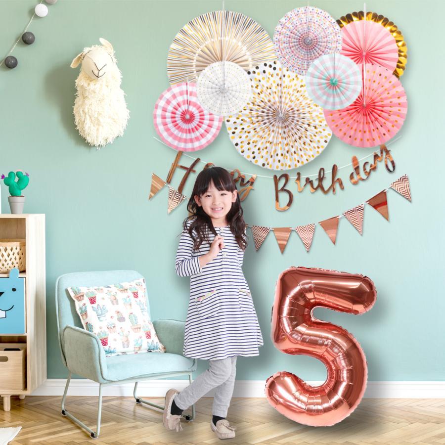 ペーパーファン誕生日飾り付け 別倉庫からの配送 大きい数字バルーン デコレーションキット 全店販売中