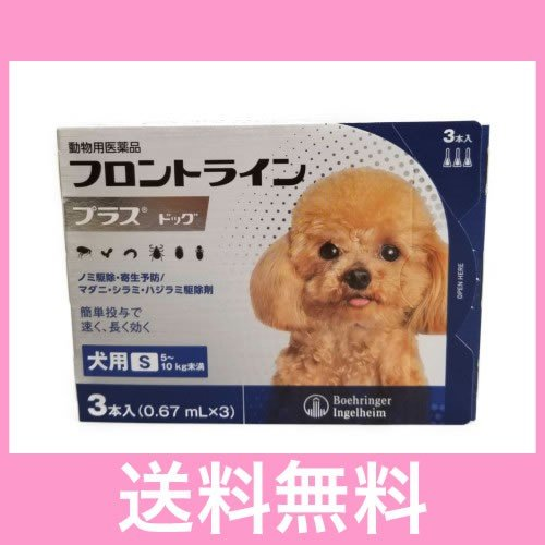 メール便 品質検査済 激安通販販売 送料無料 犬用 フロントラインプラス 3本 5〜10kg未満 S