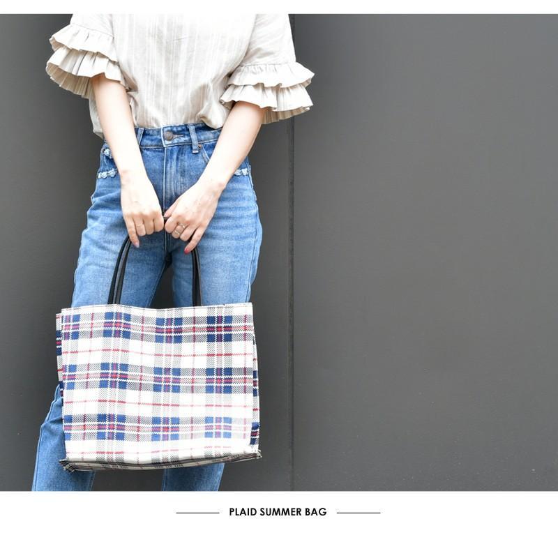 トートバッグ カゴバッグ ビニール編み 軽量 エコバッグ マザーバッグ  ショッピングバッグ 撥水 防水 PP ナイロン 買い物 かご バッグ レディース|harbest-kobe|06
