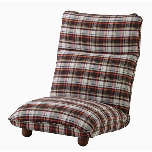 ソファ ソファー 1人掛け リクライニング リクライニングソファ 座椅子 リクライニング座椅子 ロータイプ 幅57cm カレン ブラウン チェック柄 1人掛けソファ|harda-kagu