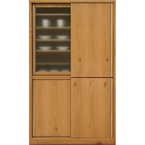 引き戸 食器棚 木製 完成品 日本製 おしゃれ ソルト 幅118cm 高さ195cm ホワイトオーク キッチン収納 キッチンラック キッチンシェルフ 収納家具 収納棚