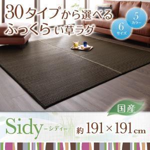 畳 日本製 ふっくら い草ラグ シディ 191×191cm ベッドサイド ラグ い草 いぐさ 夏ラグ ラグマット イ草 畳マット さらさら ウレタン 厚手 滑り止め