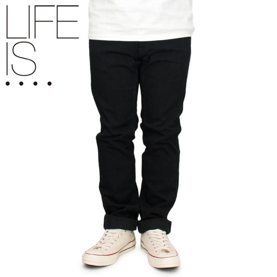 LIFE IS.... ライフイズ デニムパンツ ジーパン ジーンズ スリムフラット 日本製 ブラック|hartleystore