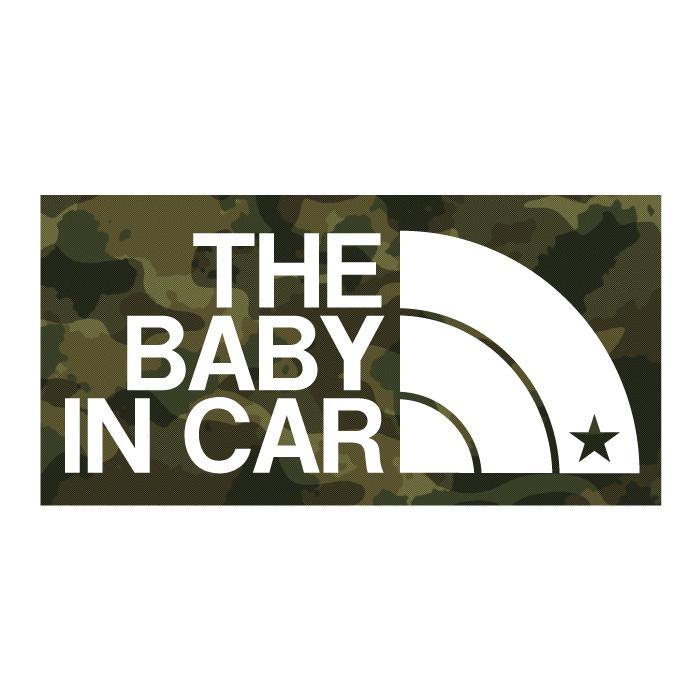 THE BABY IN CAR ベビーインカー カモ柄ステッカー お求めやすく価格改定 赤ちゃんを乗せています シール 迷彩柄 正規品 ネコポス対応