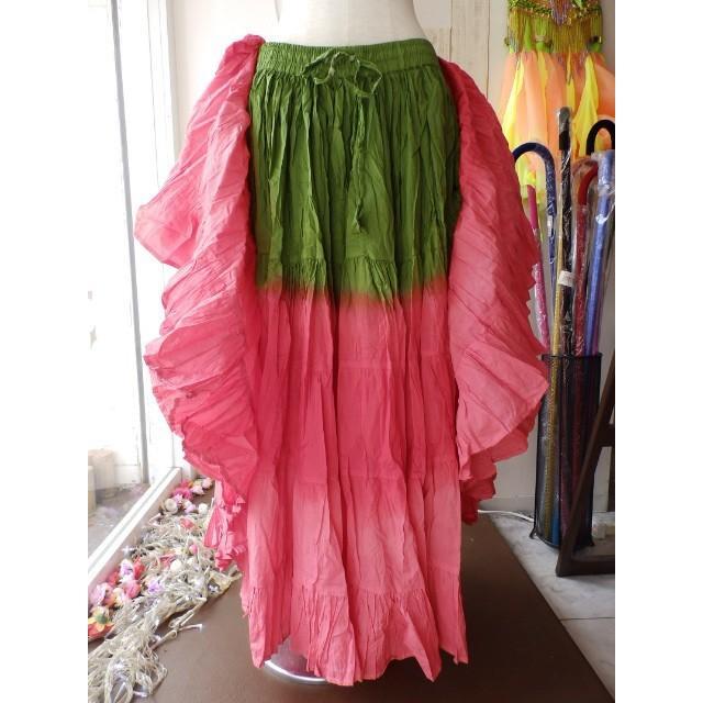 ご予約品【T様専用】25ヤード コットン スカート 緑 ピンク*2
