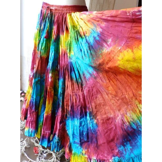インド製 25ヤード コットン スカート 絞り染め 虹色 :IND3830G