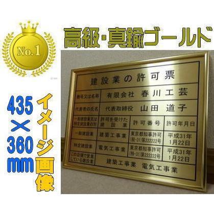 労働者派遣事業届出票 ゴールド額入り・板面は高級真鍮ゴールド 労働者派遣事業届出票
