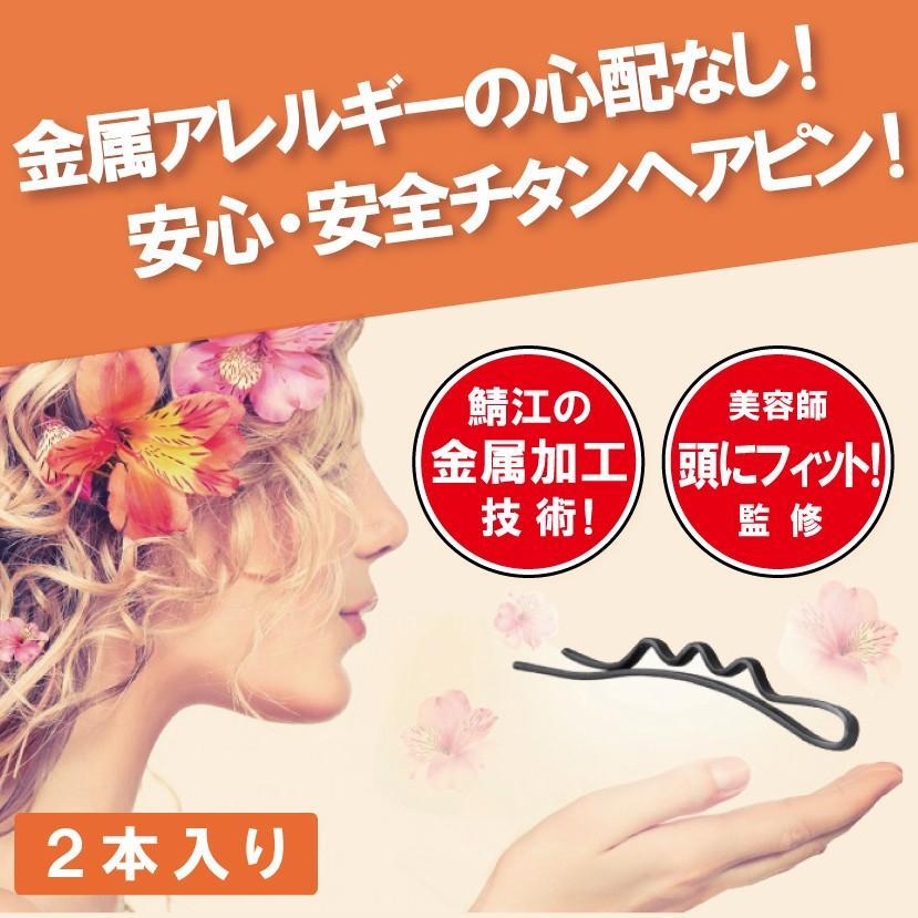 お肌をいたわるチタンヘアピン 2本入り(チタンヘアピン 金属アレルギー対策) 送料\250(3セット以上送料無料)|hatsumei-net