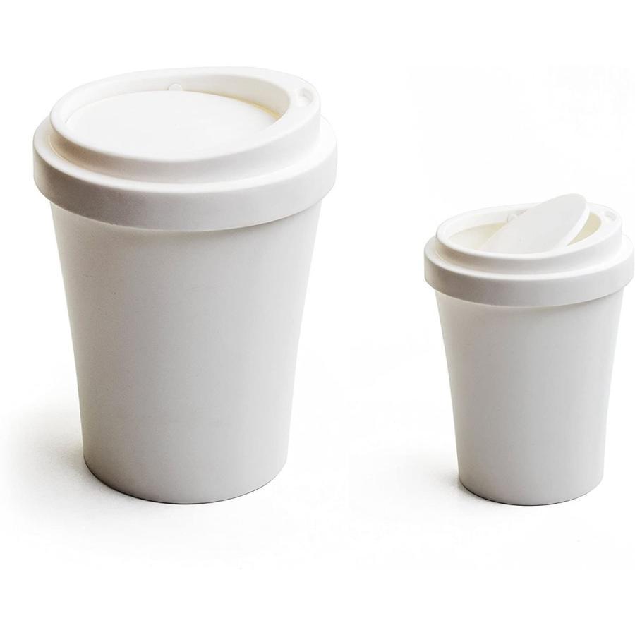 クオリー ゴミ ごみ 箱 ダストボックス 卓上 蓋付き 小さい コンパクト コーヒービン 白 ホワイト 約16×16×21cm 521704|hattiru-kusu|02