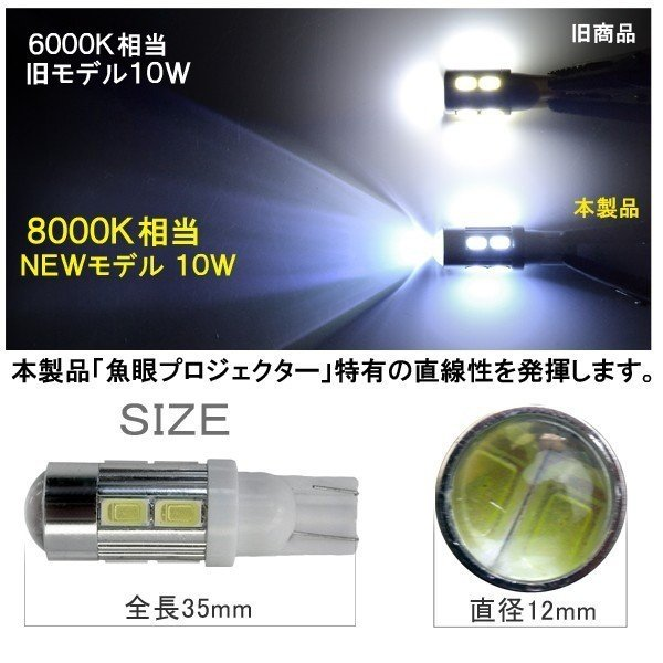 T10 T16 LED ポジション灯 バックランプ バルブ 5W球 2個セット 計10W 選べる2色 パーツ ホワイト ブルー 魚眼レンズ|hayariya|02