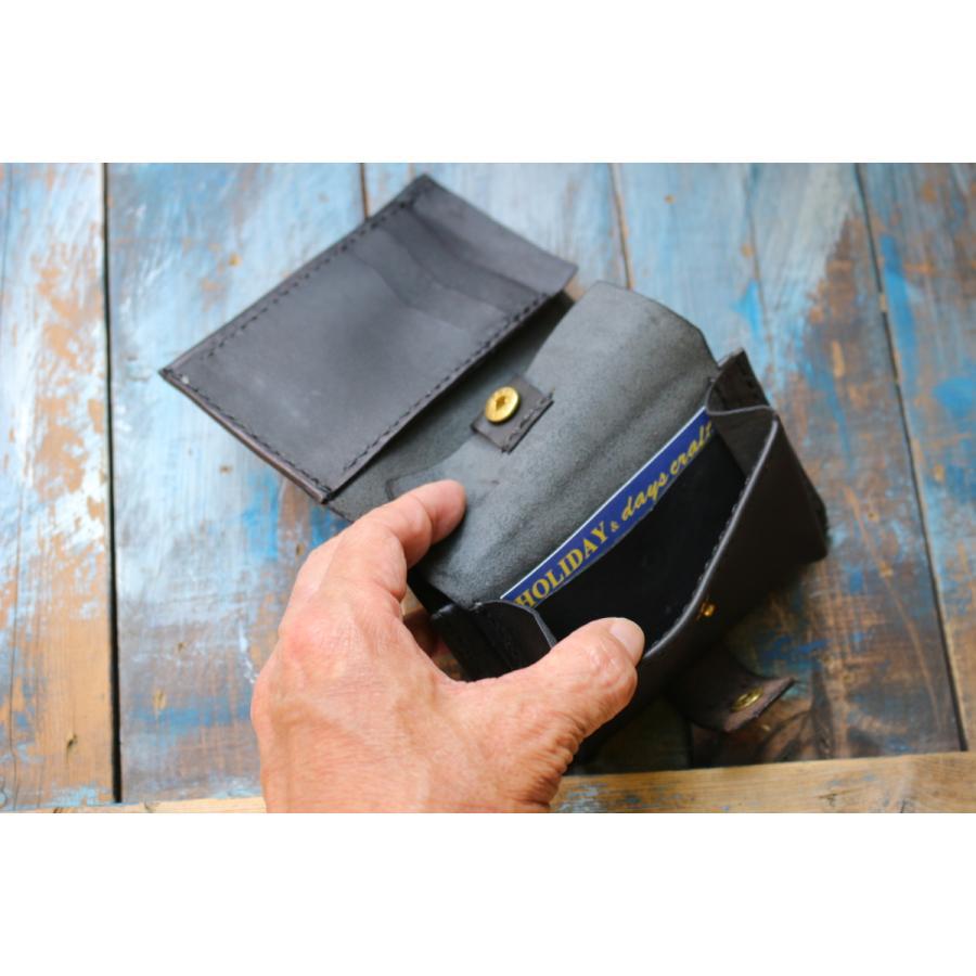 【days craft】EVO kipskin color.BK コンパクト カード多収納 二つ折り 本革|hazardholiday|04