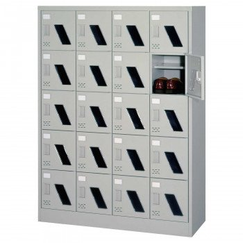 シューズロッカー 4列5段中棚付·扉付·窓付·錠なしタイプ ニューグレー COM-SC-20WM
