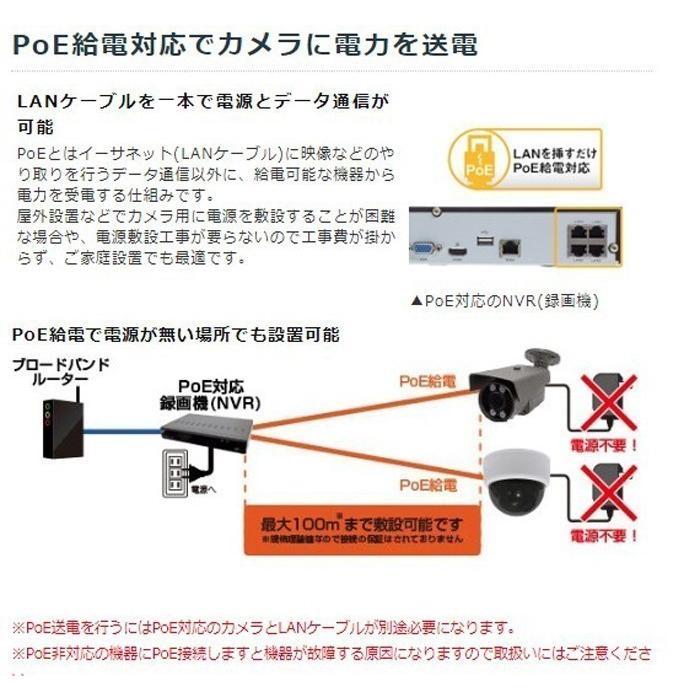 音声録画対応 防犯カメラ 800万画素 ドーム型 監視カメラ 遠隔監視可能 防犯録画機 NVR レコーダー IPカメラ HDC-4K800IPC06 WTW-PDRP4615EA2 WTW-NV404EP2|hdc|02