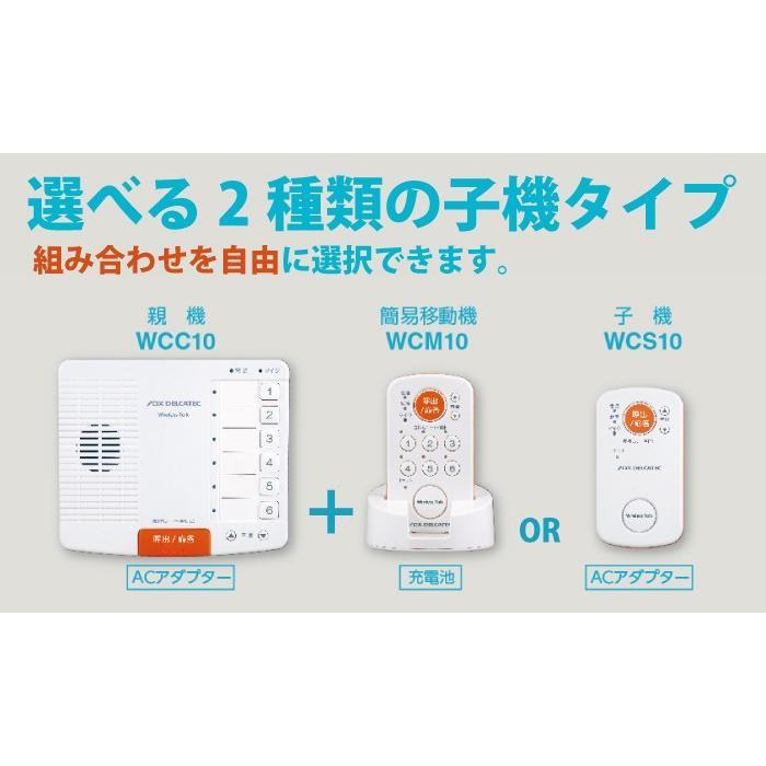 ワイヤレス インターホン ワイヤレストーク 内線通話 無線通話 介護 生活防水 ナースコール WCP10CS6 WCC10 WCS10 WCM10【選べる子機タイプ・台数セット】 hdc 02