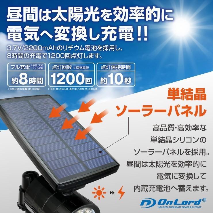 ソーラー充電式 防犯カメラ型 センサーライト ブラック 屋外防水 LED 人感センサー ソーラーパネル 太陽光発電 OL-332B hdc 03