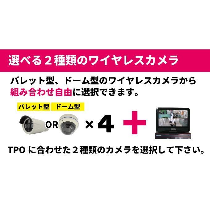 200万画素 ワイヤレスカメラ 4台 モニター一体型録画機セット 1080Pフル Wi-Fi CK-NVR9104 hdc 04