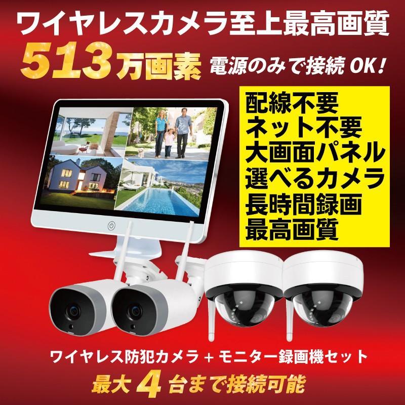 防犯カメラ ワイヤレス モニターセット WiFi ワイヤレスカメラセット 監視カメラ ワイヤレス防犯カメラ 屋外 屋内 家庭用 513万画素 CK-NVR5015|hdc