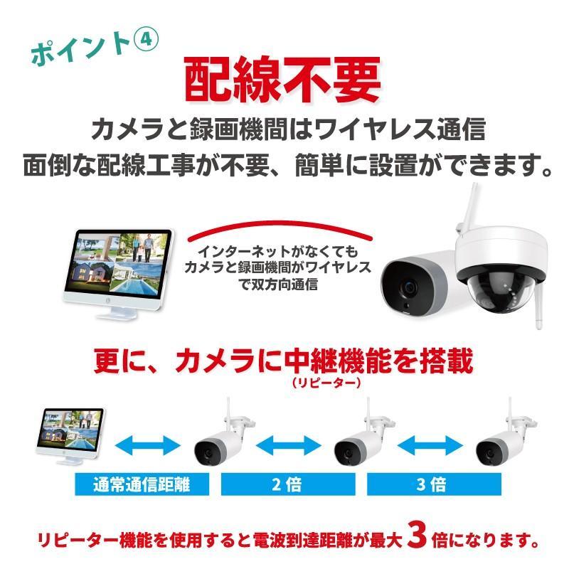 防犯カメラ ワイヤレス モニターセット WiFi ワイヤレスカメラセット 監視カメラ ワイヤレス防犯カメラ 屋外 屋内 家庭用 513万画素 CK-NVR5015|hdc|05