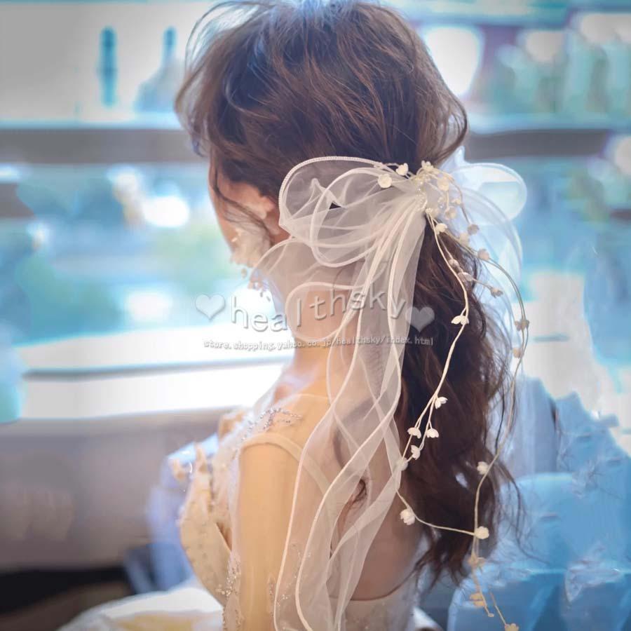 ヘッドドレス ウェディング 髪飾り オンラインショップ チュール 人気 リボン ヘアアクセサリー 卒業式 成人式 結婚式 ウェディングフォト リゾート 安値 ブライダル 結婚アクセサリー