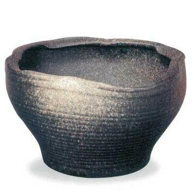 SA94-3 信楽焼 黒釉白窯肌変形水鉢 18号
