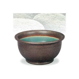 SA95-11 信楽焼 窯肌ケズリ鈴型水鉢 16号