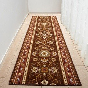 80cm×700cm 廊下敷き ブラウン アラベスク 三愛繊維