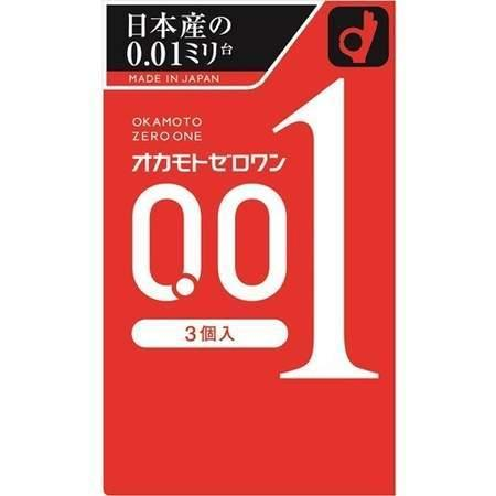 本物 6箱まで送料198円 追跡可能メール便 コンドーム オカモト 3個入り 0.01ミリ ゼロワン 信託