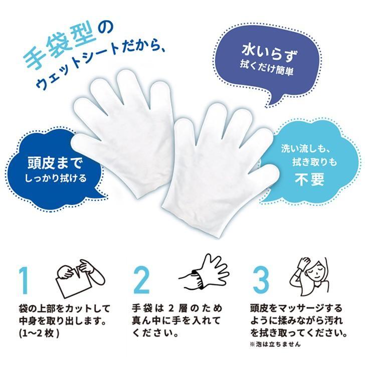 水のいらない泡なしシャンプー ウェット手袋 heartcare 02