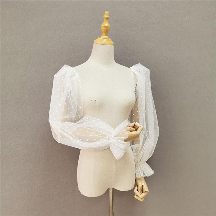 パフスリープ 付け袖 ドットレース 二の腕カバー アームカバー ボレロ 羽織り ケーブル ショール パーティードレス ワンピース ドレス衣装 お呼ばれ 二次会|heartsunny