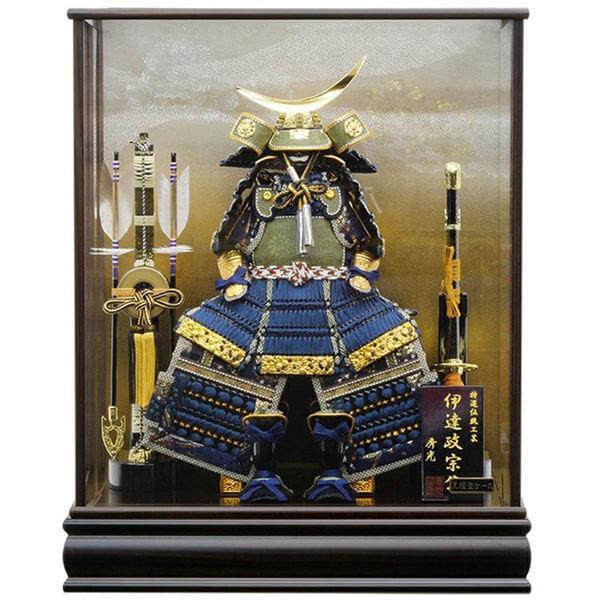 五月人形 伊達政宗 鎧 ケース飾り 甲州印伝鎧飾り 正絹藍色威 平安泉匠作 人形の平安大新 am12027|heiandaishin