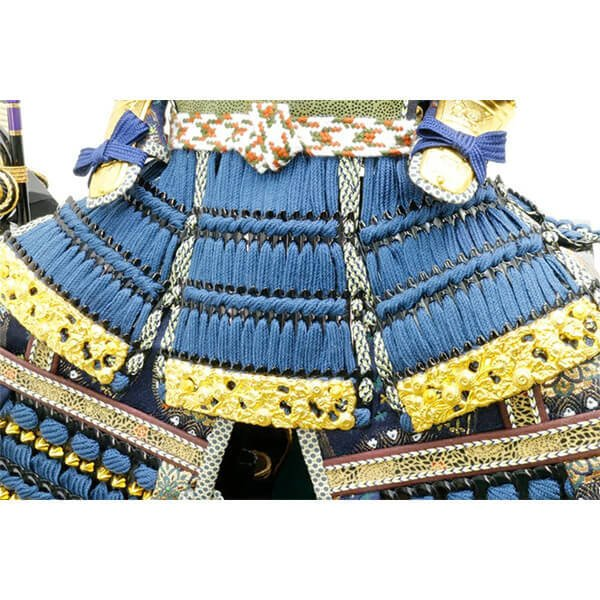 五月人形 伊達政宗 鎧 ケース飾り 甲州印伝鎧飾り 正絹藍色威 平安泉匠作 人形の平安大新 am12027|heiandaishin|13