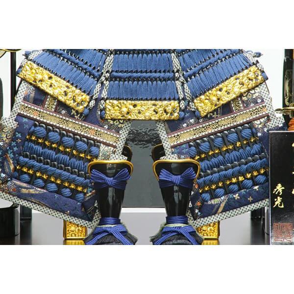 五月人形 伊達政宗 鎧 ケース飾り 甲州印伝鎧飾り 正絹藍色威 平安泉匠作 人形の平安大新 am12027|heiandaishin|14