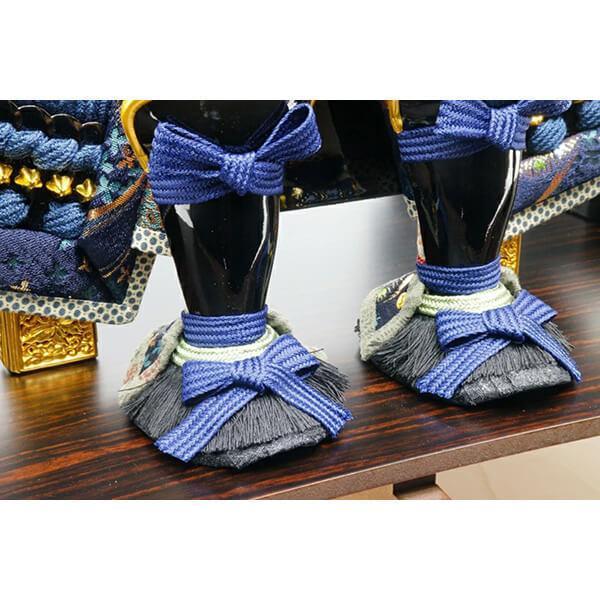 五月人形 伊達政宗 鎧 ケース飾り 甲州印伝鎧飾り 正絹藍色威 平安泉匠作 人形の平安大新 am12027|heiandaishin|15