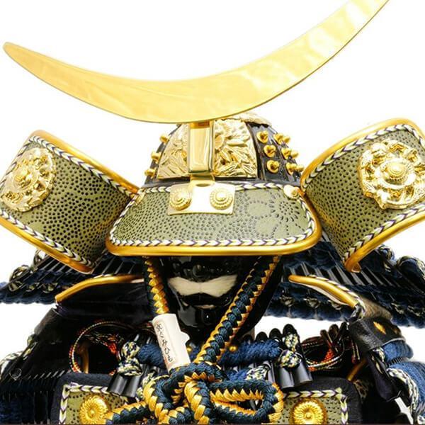 五月人形 伊達政宗 鎧 ケース飾り 甲州印伝鎧飾り 正絹藍色威 平安泉匠作 人形の平安大新 am12027|heiandaishin|07
