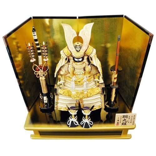 【五月人形】【平飾り】阿古陀筋鉢 胴丸鎧金沢箔屏風黒金台飾り 人形の平安大新 am12036|heiandaishin|03