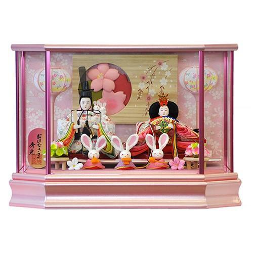 雛人形 コンパクト ケース飾り ピンクが可愛い親王飾りとうさぎの官女の五人飾り 平安大新 ひな人形 送料無料 hd12007