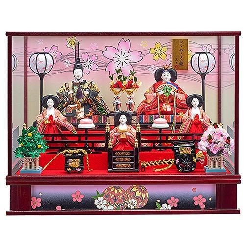 雛人形 ひな人形 コンパクト ケース飾り 五人飾り ぼんぼり電気付 極上金襴衣裳の豪華な衣裳着五人ケース飾り 平安大新 hd12015