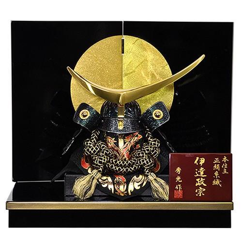 【五月人形】【コンパクトサイズ】兜飾り 伊達政宗型兜 / 「弦月」が金色に輝く人気の兜飾り 人形の平安大新 hm12012 heiandaishin